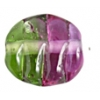Glass Lamp Bead Flat/oval 13x12mm Purple/Green